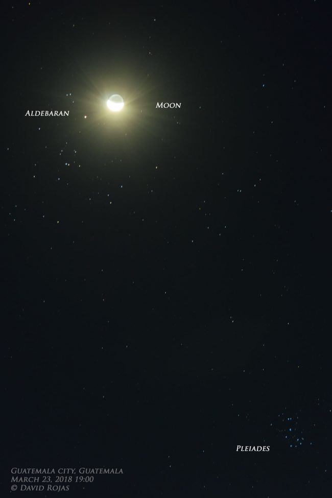 Star field with bright moon, nearby bright star, and two groups of stars.