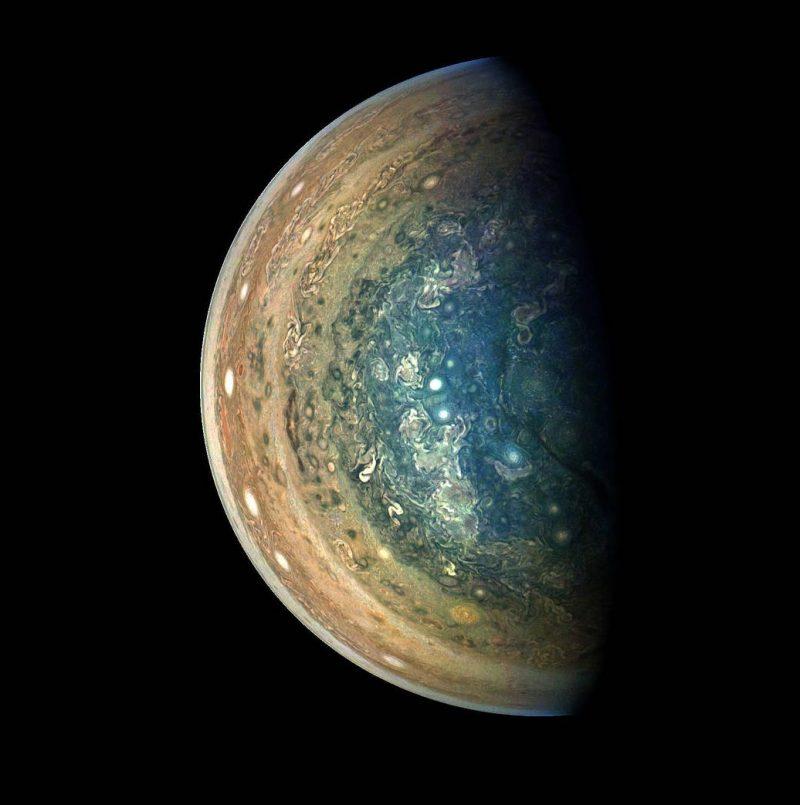 Jupiter's swirling south pole