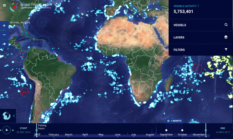 almost real time map of global fishing earth earthsky