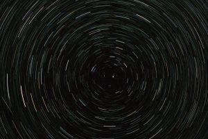 Streaks of light in circles against a black background.