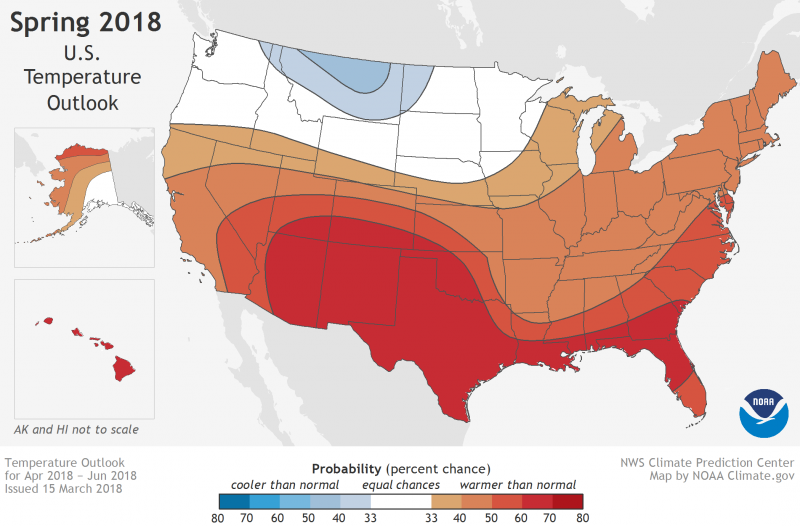 Noaas 2018 Us Spring Weather Outlook Earth Earthsky - Us-map-of-temperatures
