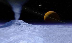 Artist concept of water volcano on Enceladus.