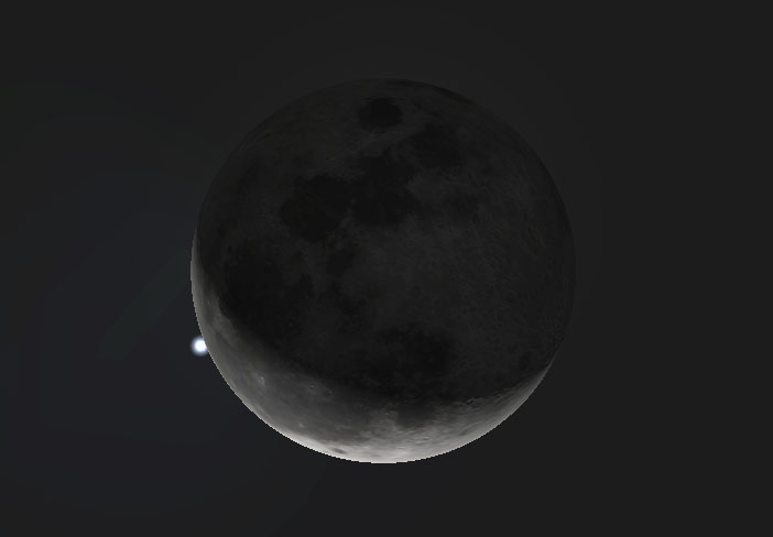 Moon with star right next against it.