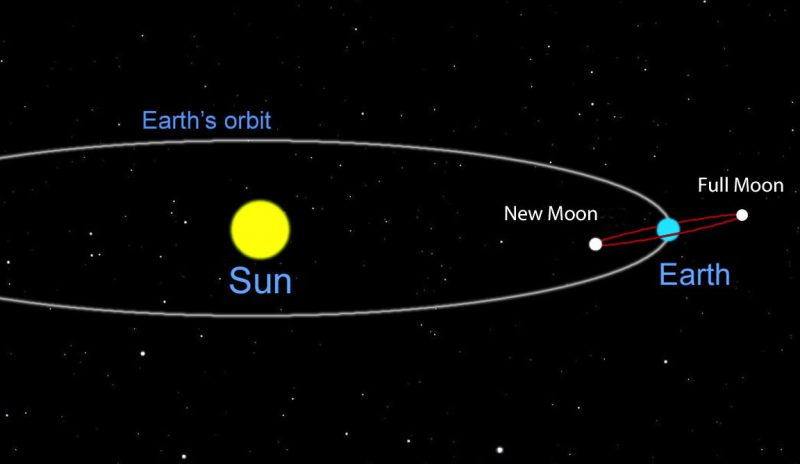 Oblique diagram of earth, sun, moon orbits. Moon orbit slightly slanted in relation to Earth's.