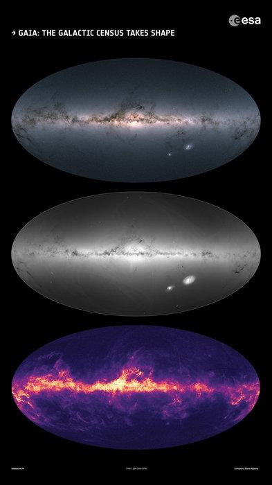 Gaia's 2nd data release: 1.7 billion stars! Gaia-brightnesses-colors-density-dust