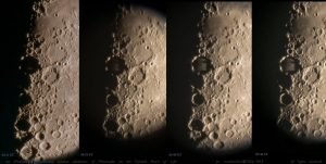 Four vertical sections of moon showing large crater appearing farther to the right in each.