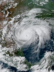 Large hurricane bearing down on the Texas coast.