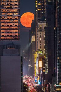 Large orange full moon between see-through glass skyscrapers above a lit-up city street.