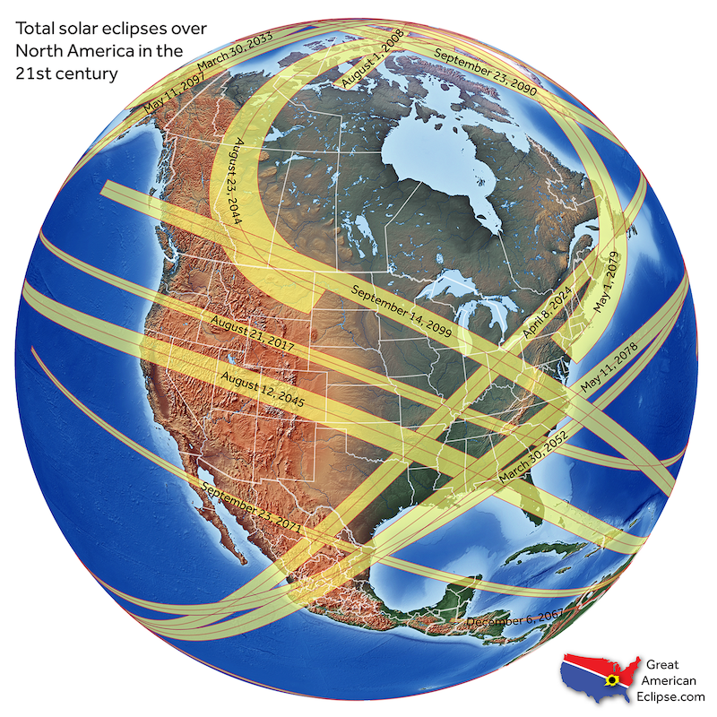Earth globe centered on North America, with yellow ribbons wrapped around its surface labeled with dates.