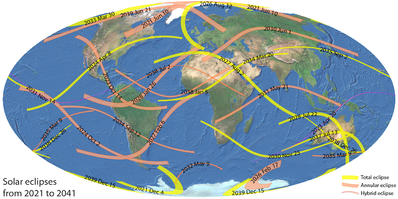 Oval world map with curved, dated orange and yellow lines crisscrossing over it.