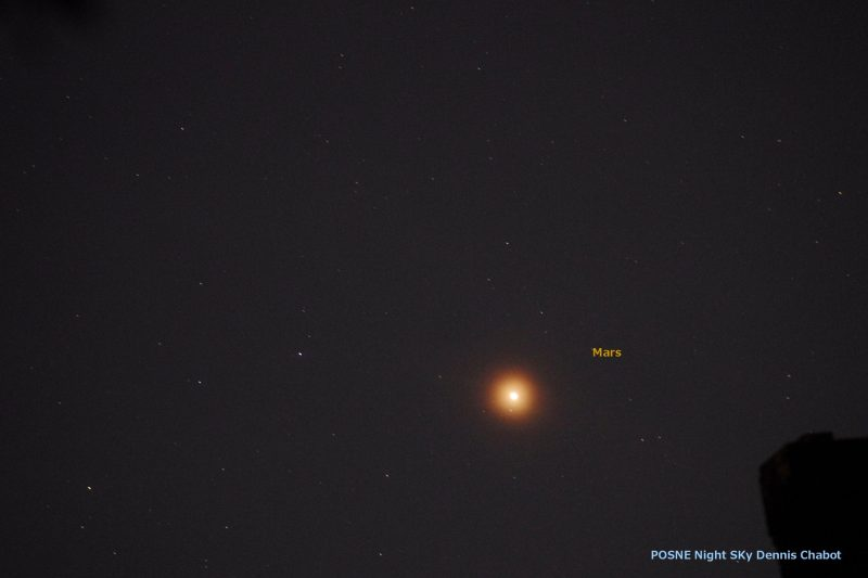 Several small white dots on black background with one big glowing red dot labeled Mars.