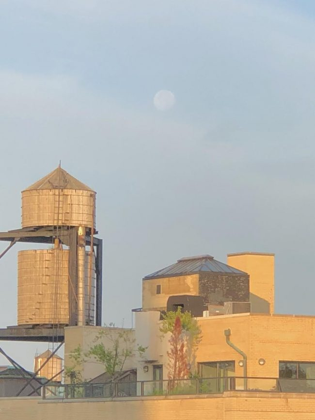 Sunrise light on water tower and roof structures with slightly cloudy blue sky and high, white gibbous moon.