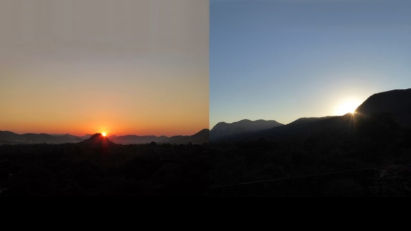 Two images of sunset, with sun at different positons relative to a rocky horizon.