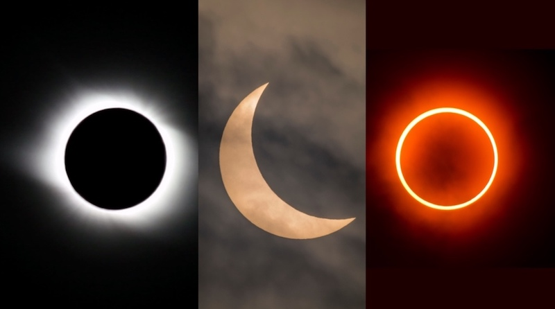 Black circle with fuzzy white rim, bright crescent, thin brilliant ring in fuzzy orange circle.