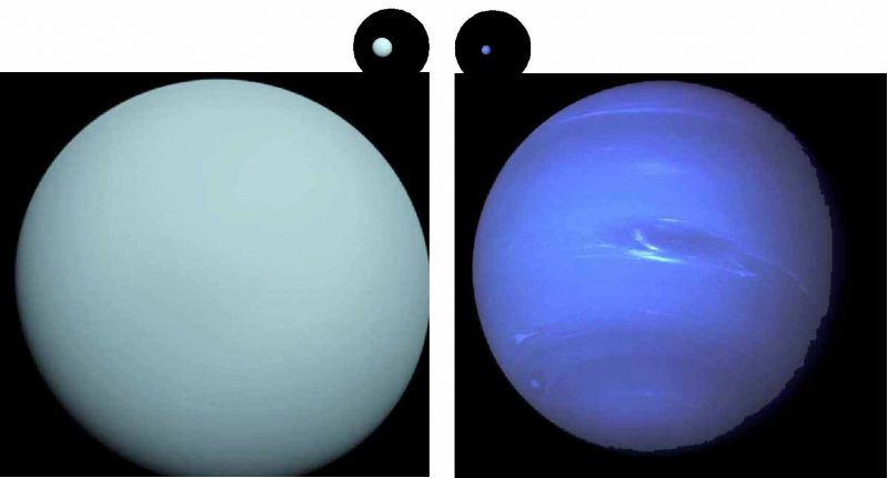 Pale blue featureless planet on left, slightly striped blue planet on right.