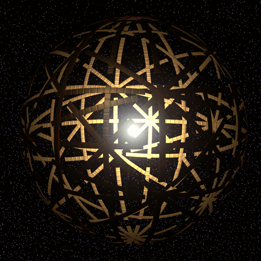 Dyson sphere: Artist's conception of a bright object, a star, surrounded by giant metal arches.