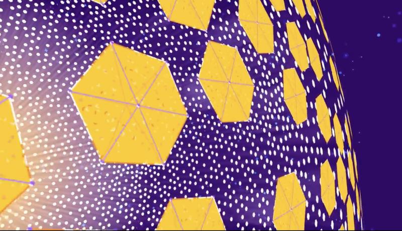 Hexogonal mirrors in orbit around a yellow star.