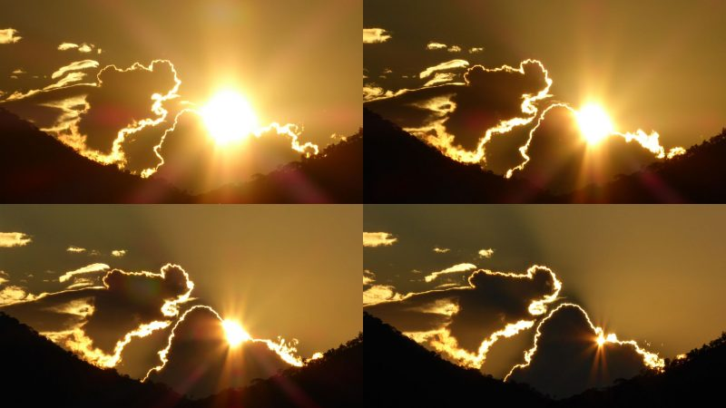 Composite of 4 images showing clouds that look like a dog eating the sun.