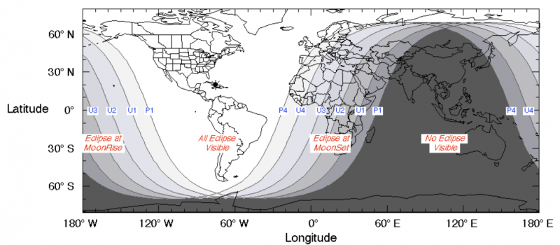 map showing eclipse coverage.