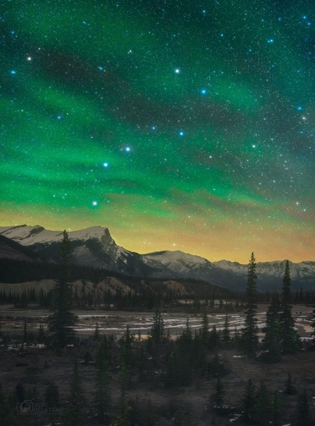 Big Dipper shining brightly in green night sky over mountains with evergreens in foreground.