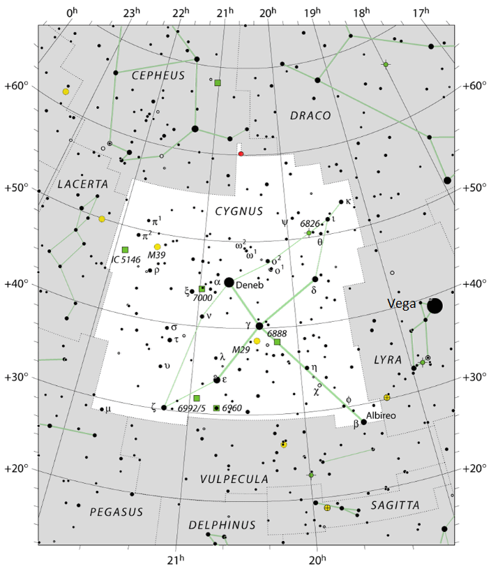 Star chart with stars in black on white.