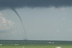 Waterspout over the ocean.
