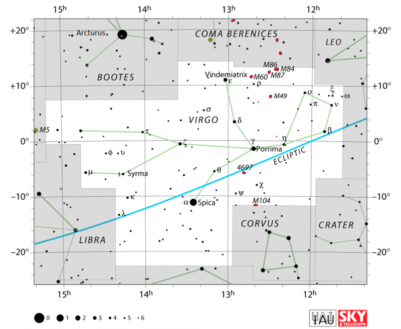 Star chart with stars in black on white and blue line of ecliptic crossing through Virgo.