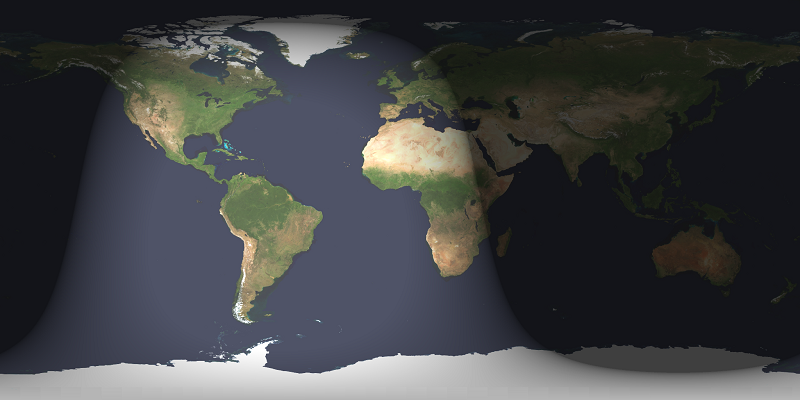 Map of Earth with wide swath lighted, rest dark.