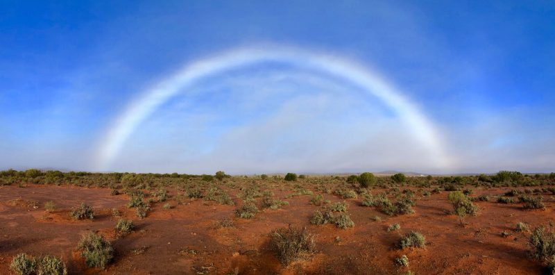Fogbow with very faint colors over a red-soil desert landscape.