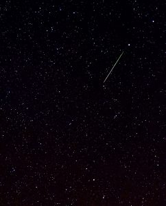 Leonid meteor photo against a starry sky.