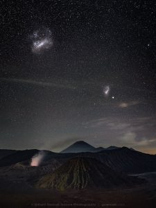 Photo of the Large and Small Magellanic Clouds over Bromo Semeru Tengger National Park, Java, Indonesia