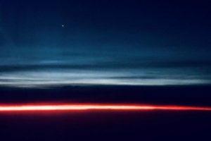 Venus above sunrise, stratus clouds