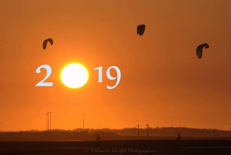 Orange sunset sky with the sun as the zero in 2019