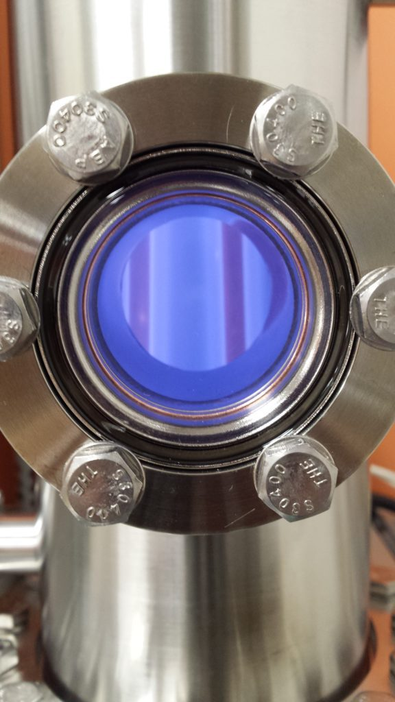A simulated CO2-rich planetary atmosphere being exposed to a plasma discharge