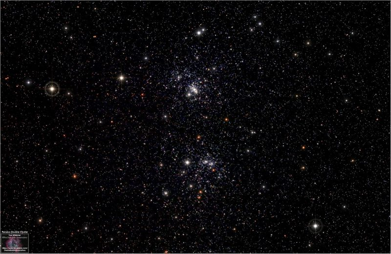 Star field with two separate tight groupings of multiple stars.