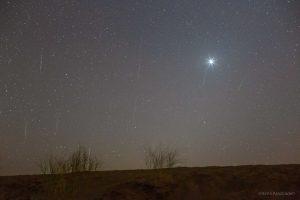 bright Venus with Geminid meteors