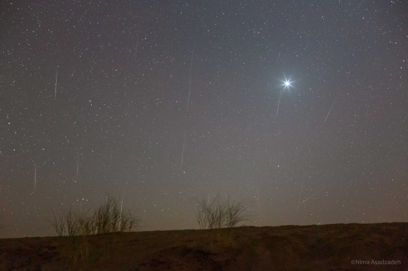 bright Venus with Geminid meteors