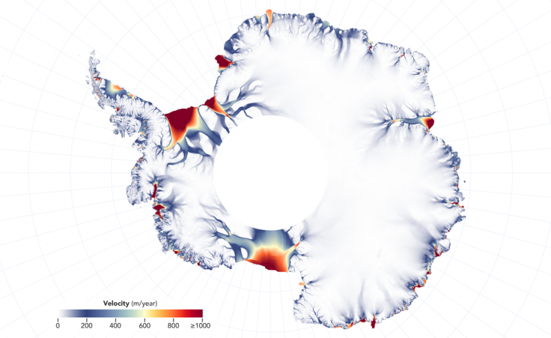 map showing faster-moving glaciers in red