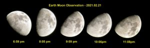 5 images of the waxing moon tilting over 4 hours.