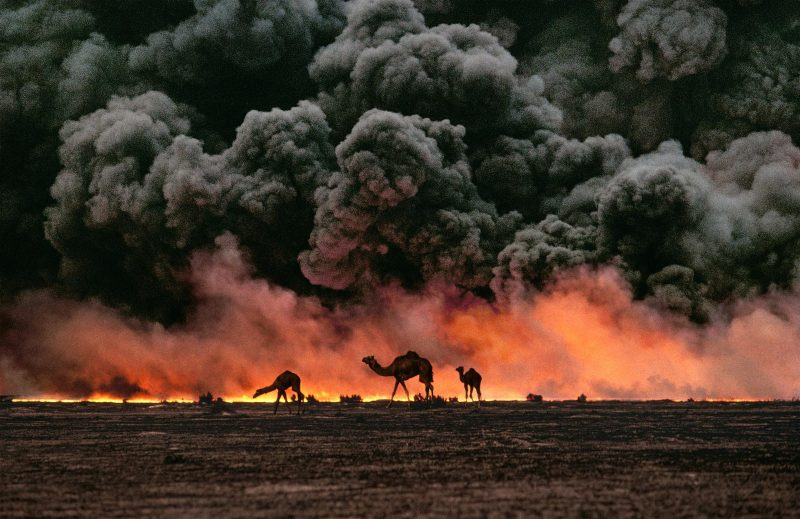 Camels silhouetted against billowing smoke clouds and fiery sky.