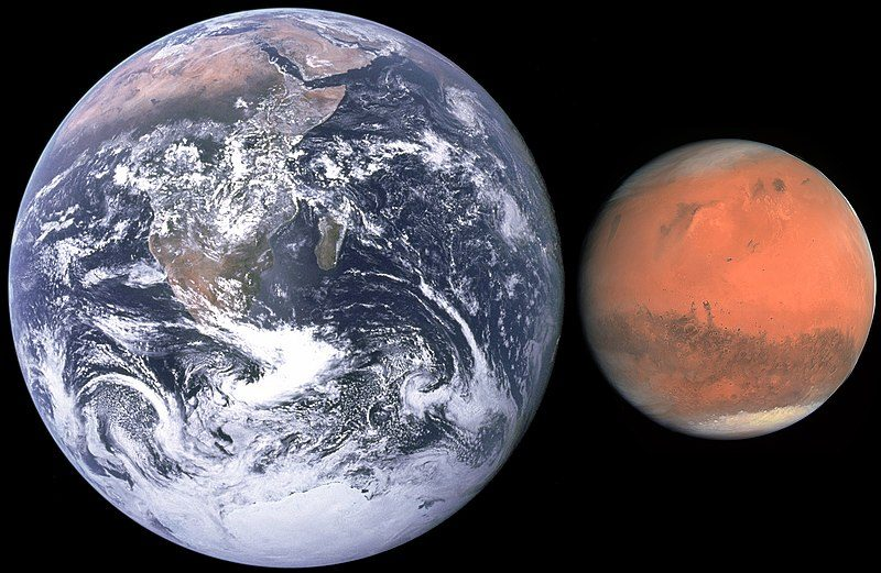 Photos of Earth and Mars side by side showing relative sizes