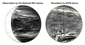 Lower clouds of Venus observed with the Akatsuki IR2 camera (left) and the planetary-scale streak structure reconstructed by AFES-Venus simulations (right).