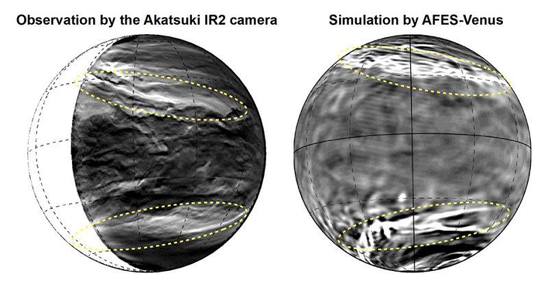Infrared and simulation views of streaks in Venus' atmosphere.
