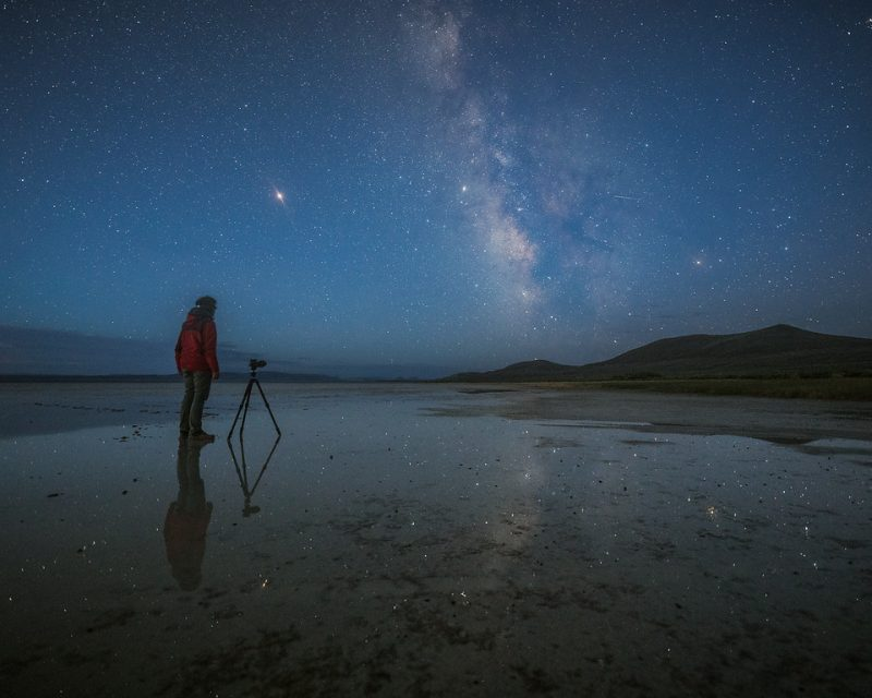 Man with camera on tripod, rising Milky Way reflected on flat water-covered ground.