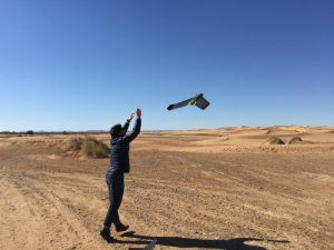 A drone being used to map the surrounding terrain where the rovers were being tested.