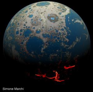Illustration of Hadean eon on Earth.