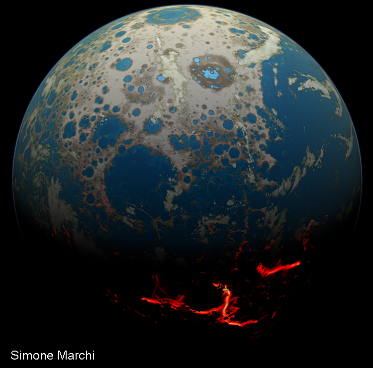 Cratered planet Earth with glowing orange cracks in it.
