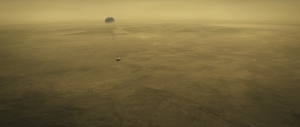 Huygens probe descending through Titan's thick atmosphere in 2005