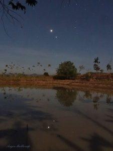 Lights in a dark blue sky reflected in a dark pond.