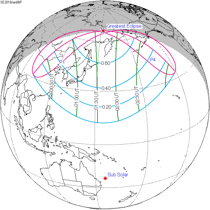 Map of partial solar eclipse